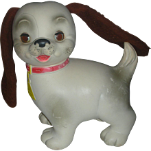 Vintage Edward Mobley Dog Rubber Squeak Toy with Sleep Eyes early 1960's