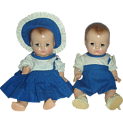 Vintage Composition Effanbee Patsy Babyette Twin Brother and Sister Baby Compo Dolls