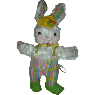 Vintage Rushton Star Creations Easter Bunny Toy Stuffed Rabbit 1950's