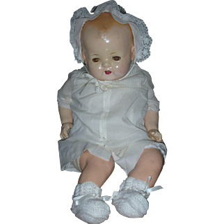 Large24 inch Composition Mama Doll Compo Doll Open Mouth with Teeth Tin Eyes