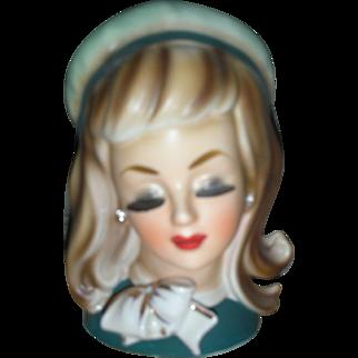 Rare Vintage Lady Head Vase Mid Century Headvase Doll Planter