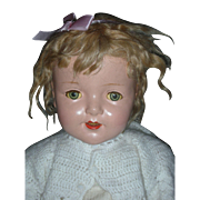 Vintage 28 inch Composition Halco Doll Shirley Temple Doll Mohair Wig Tin Eyes Comp Dolls