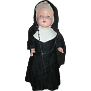 Early Vintage 17 inch All Composition Original Catholic Nun Doll Tin Sleep Eyes