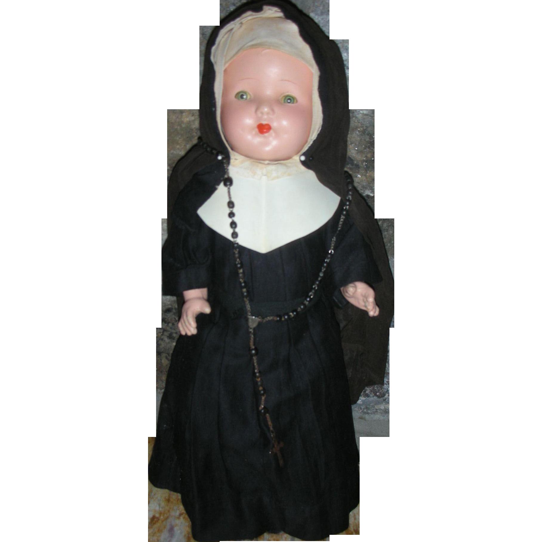 Early Vintage 17 inch All Composition Original Catholic Nun Doll Tin Sleep Eyes