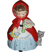 Vintage Little Red Riding Hood Napco Figurine Nursery Rythme Series Mid Century 1950's