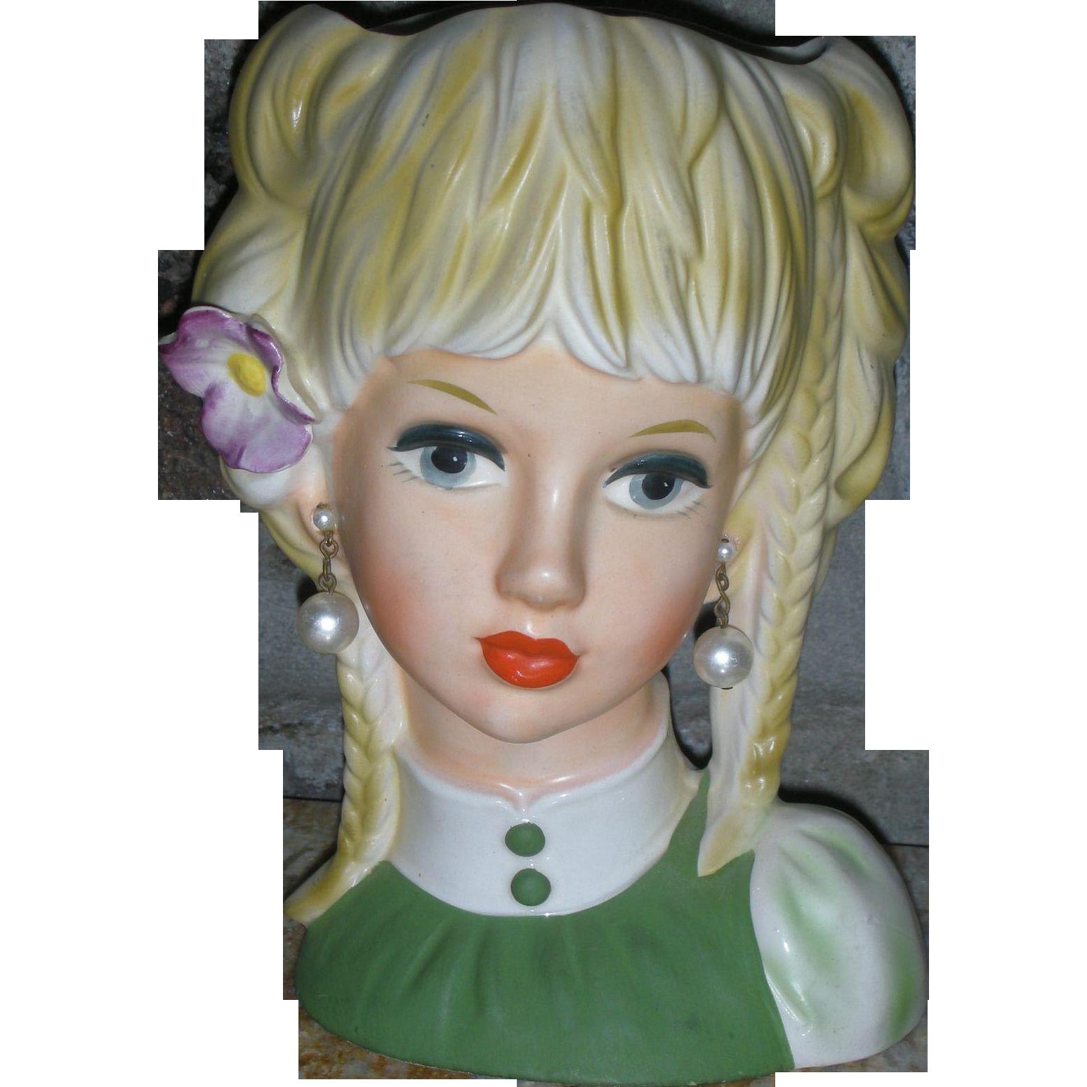 Large Teenage Ruebens 7.75 Inch Headvase Unused Mid Century Head Vase Planter Doll