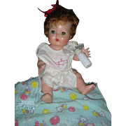 Vintage American Character Tiny Tears Doll with Rock A Bye Eyes Small Version 11 inch Original Romper