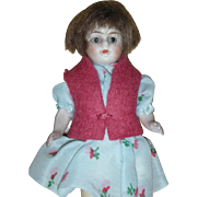 All Bisque 4.5 inch Dollhouse doll with Glass Eyes and Wig