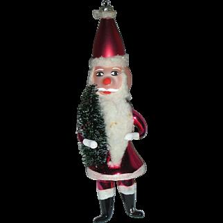 Vintage De Carlini Italian Glass Ornament Santa Claus Mid Century Hand Blown Holding Bottle Brush Tree