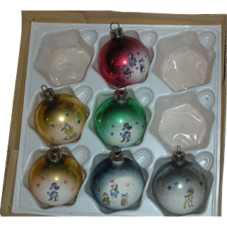 Rare Early Walt Disney Mercury Glass Christmas Ornaments 1940's
