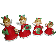 Rare Set of Napco Noel Christmas Angel Bells 1956 Mid Century Japan
