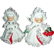 Vintage Holt Holt Howard Christmas Angel Figurine Candle Stick Holders 1960