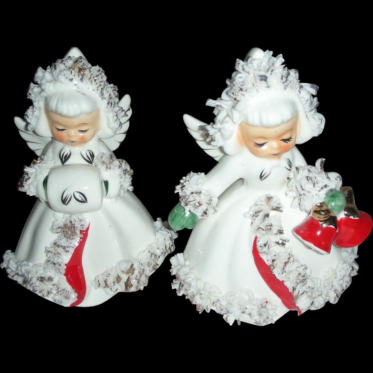 Vintage Holt Holt Howard Christmas Angel Figurine Candle Stick Holders 1960