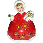 Vintage Lefton Christmas Shopper Girl Cany Dish Jar Mid Century Modern