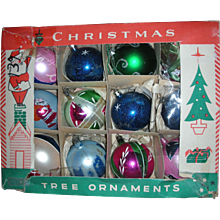 Box of Shiny Brite Christmas Ornaments Handpainted Teardrop Santa Mid Century Modern  Japan