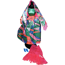 HTF Vintage Barbie Doll Mod Era Rainbow Wraps Dress #1978 Complete