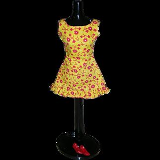 Vintage Mod Barbie Doll Sun Shiner Pak Dress with Red Original Heels 1969