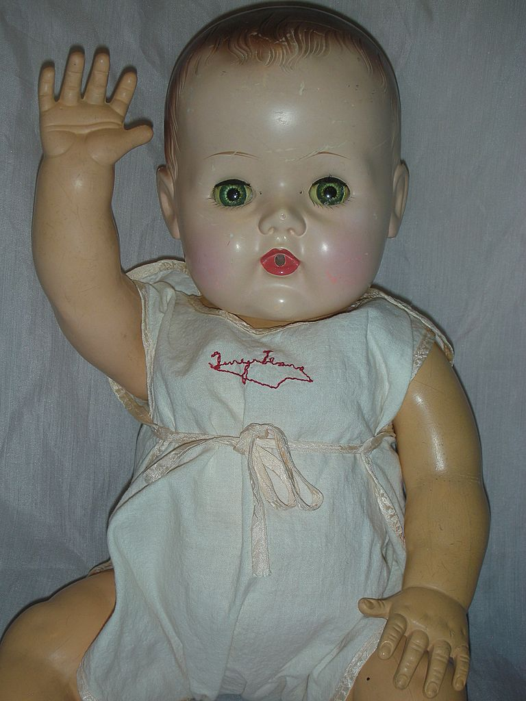 Vintage Large Tiny Tears Doll with Molded Hair and Original Romper