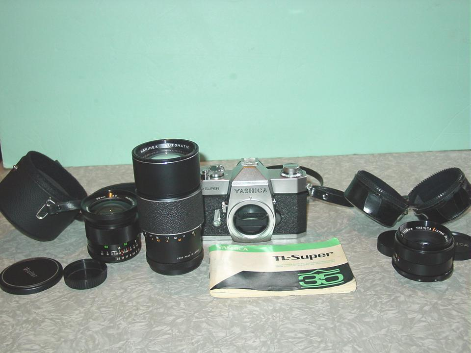Yashica TL Super 35mm SLR Camera 50mm 28mm Wide Angle & 200mm Lens
