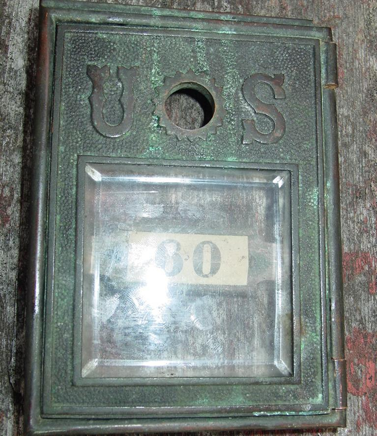 Cast Brass U.S. Post Office Door Beveled Glass Mail Box Small as is