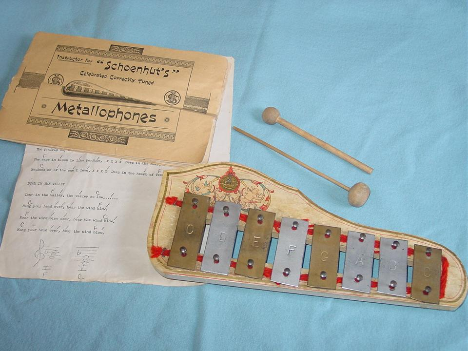 Schoenhut Metallophone Xylophone & Instructions Musical Instrument Toy