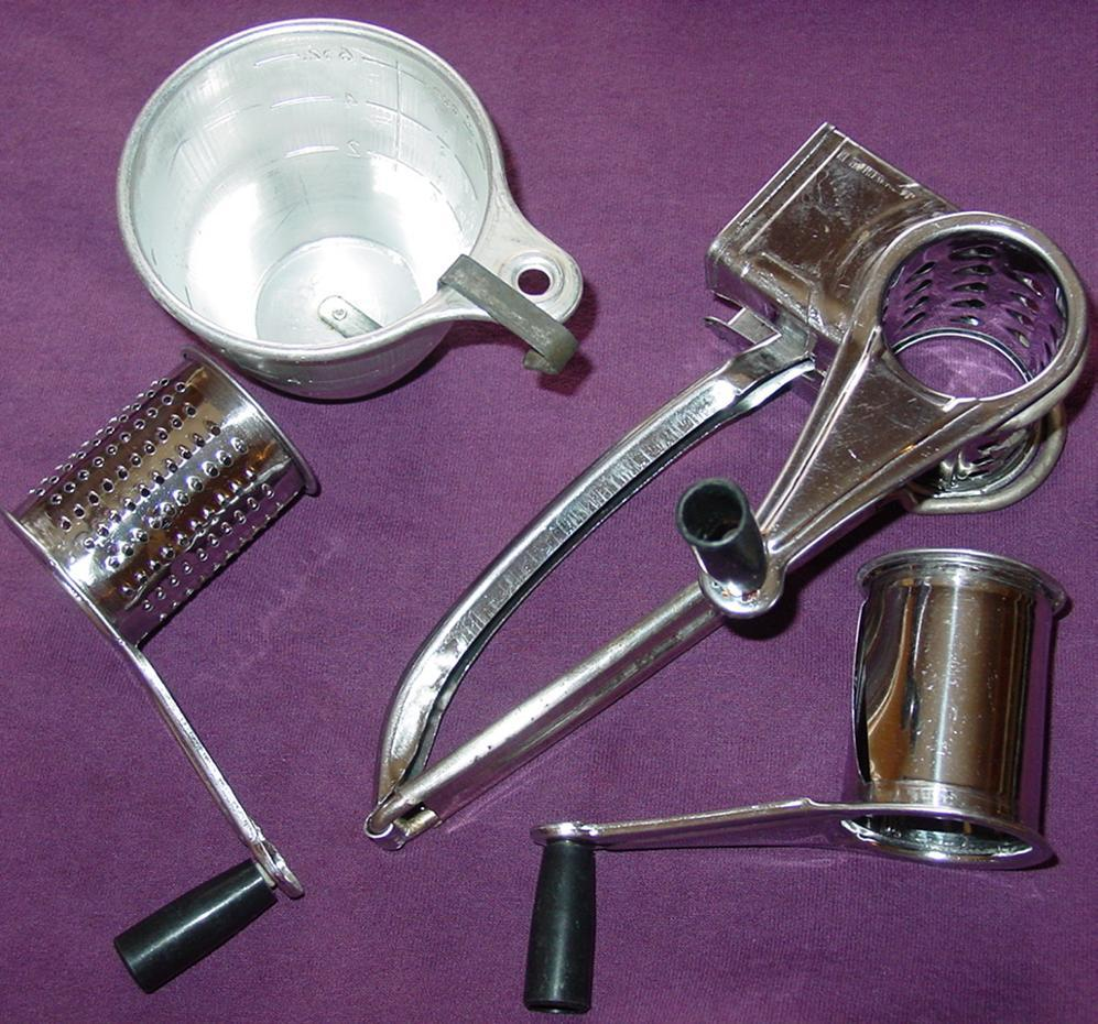 Rotary Triple Grater Shredder Slicer 3 Drum Stainless Steel & Ekco Measuring Cup