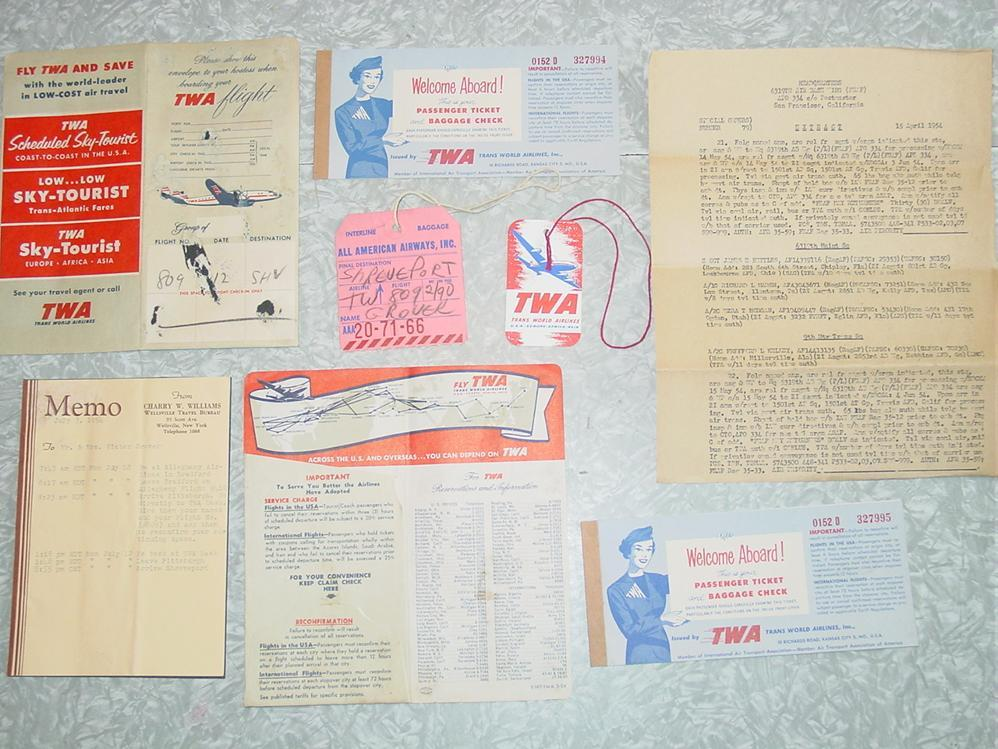 Trans World Airlines TWA 1954 Ticket Baggage Claim Check Tags Folders Airplane Travel