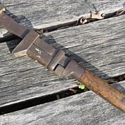 "Coes Worcester Mass Monkey Wrench Large 21"" Mechanic Tool Wood Handle Adjustable"