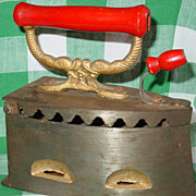 Philimco Cast Iron Coal Fired Clothes Iron Red Wood Handle Oriental Fish Philippines Flip Top