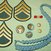 Military Infantry Blue Cord Visor Cap Badge Collar Brass Staff Sergeant Rank Army Patches