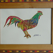 Nouveau Byzantine Rooster Batik on Rice Paper  Keigh Earisman Art Framed Wall Plaque