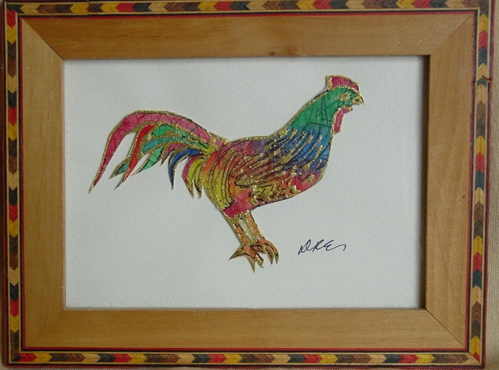 Nouveau Byzantine Rooster Batik on Rice Paper  Keigh Earisman Art Framed Wall Plaque