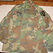 Military Camouflage Field Jacket Medium Long 1982 Cold Weather Coat Woodland Camo