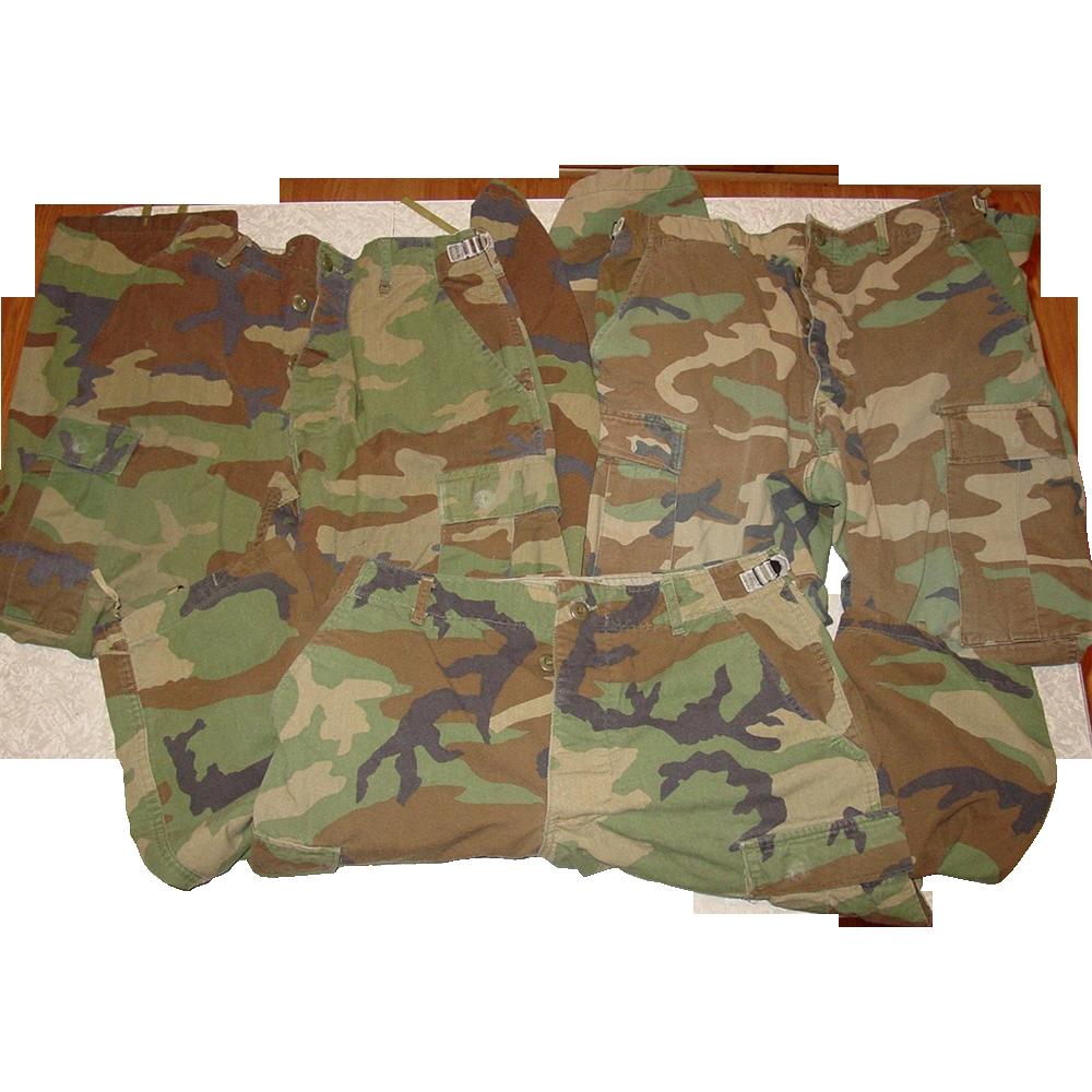 Military Woodland Camouflage Pants 35X30 Camo BDU Trousers 3 Pair Fatigue Uniform