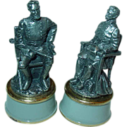 Franklin Mint Civil War Chess General Stonewall Jackson Beauregard Set Pewter Bishop Pieces