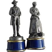 Franklin Mint Ulysses S. Grant Clara Barton Civil War Chess Pewter King Queen Game Pieces