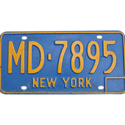 New York License Plate MD-7895 Medical Doctor 1966-1973 Automobile Blue Yellow