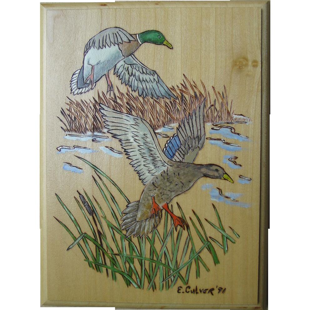 Wild Mallard Ducks Flying Wood Burning Plaque  Hand Painted Art Wall Hanging E.Culver 1991