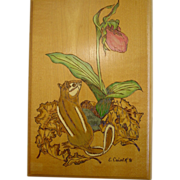 Chipmunk Flower Leafs Wood Burning Plaque Hand Painted Art Wall Hanging E.Culver 1991