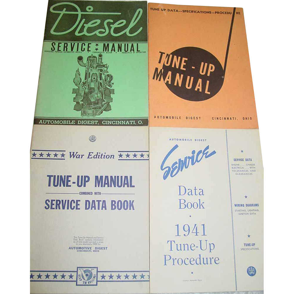 Tune-Up Manual Combined with Service Data Book War Edition Automotive Digest WWII Books