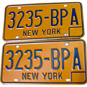 New York State NY Automobile Car License Plates Pair Set 3235-BPA Blue Orange 1974-86