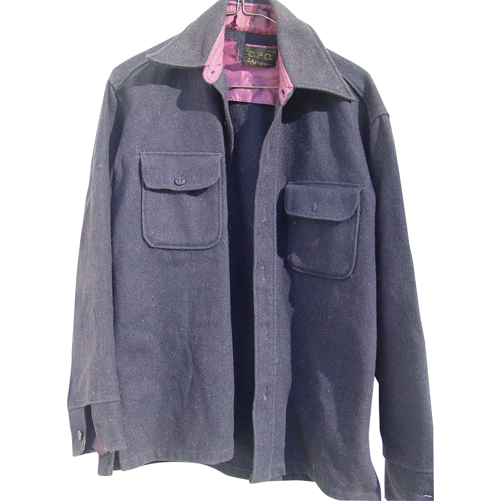Military Arrow CPO Navy Wool Jacket Size Medium Shirt Ship Anchor Buttons as is