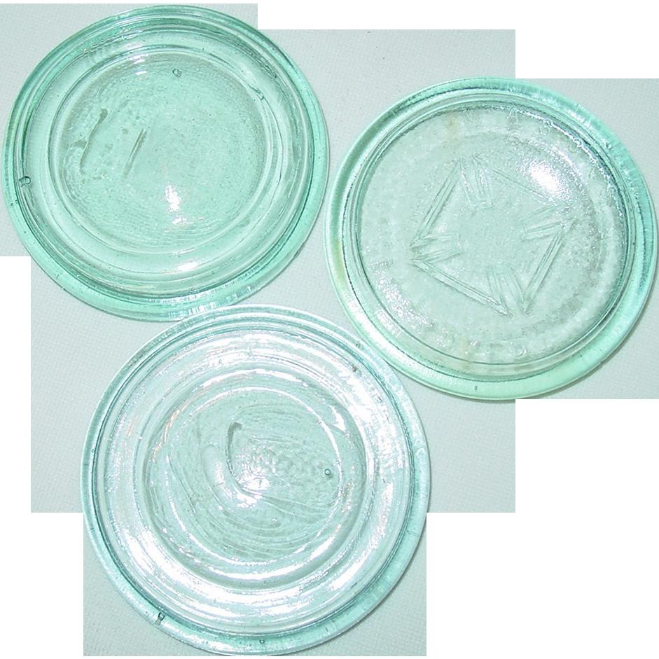 Blue Glass Mason Improved Maltese Cross Aqua Canning Jar Lid & 2 Unmarked