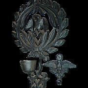 J.Z.H. Eagle Candle Holder Trivet 1949 John Zimmerman Harner Boyertown Pa Cast Iron
