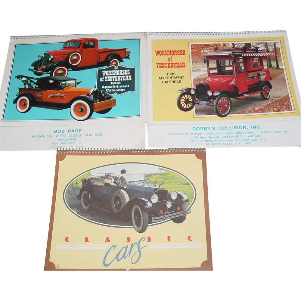 Classic Cars Workhorses of Yesterday Trucks Calendar Prints 1983 1986 1988 Pictures