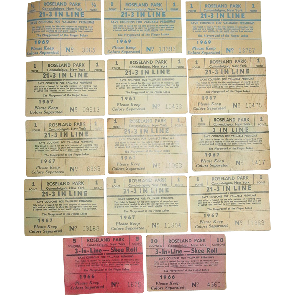 Roseland Amusement Park Canandaigua NY Skee Ball Roll 21-3 In Line Coupons 1966-69