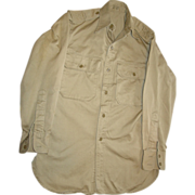 Military Shirt Cotton Khaki Vietnam War 1963 Stand Up Collar 13X30 Uniform Long Sleeve