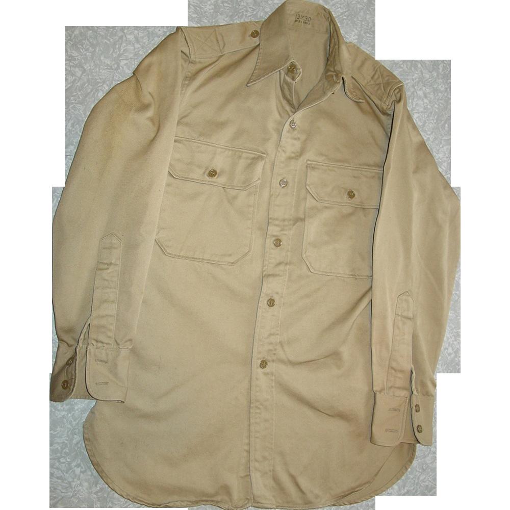 Military Shirt Cotton Khaki Vietnam War 1963 Stand Up Collar 13X30 Uniform Long Sleeve