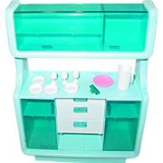 Mattel 1978 Barbie Doll Dream House Dinning Buffet Hutch Furniture Dishes as is Toy parts
