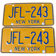 New York State NY Automobile Car License Plates Pair Set JFL-243 Blue Orange 1974-86